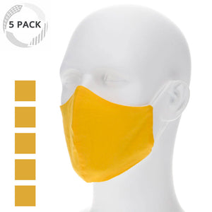 5 pack kids lemon yellow cloth face masks