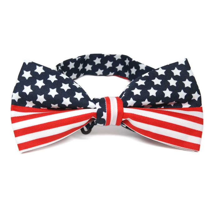 A american flag bow tie in red, blue and white
