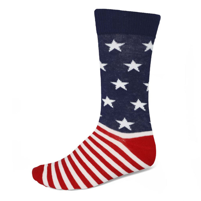 Men's crew socks with stars and stripes in red, white and blue