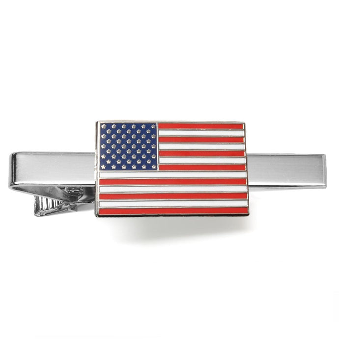 American flag red, white and blue tie bar on silver background