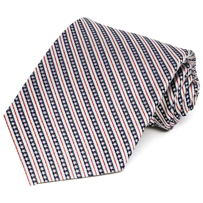 Red, White and Navy Blue Americana Stripe Silk Necktie