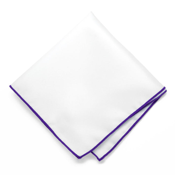 Amethyst Purple Tipped White Pocket Square