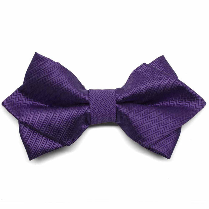 Amethyst Purple Herringbone Diamond Tip Bow Tie