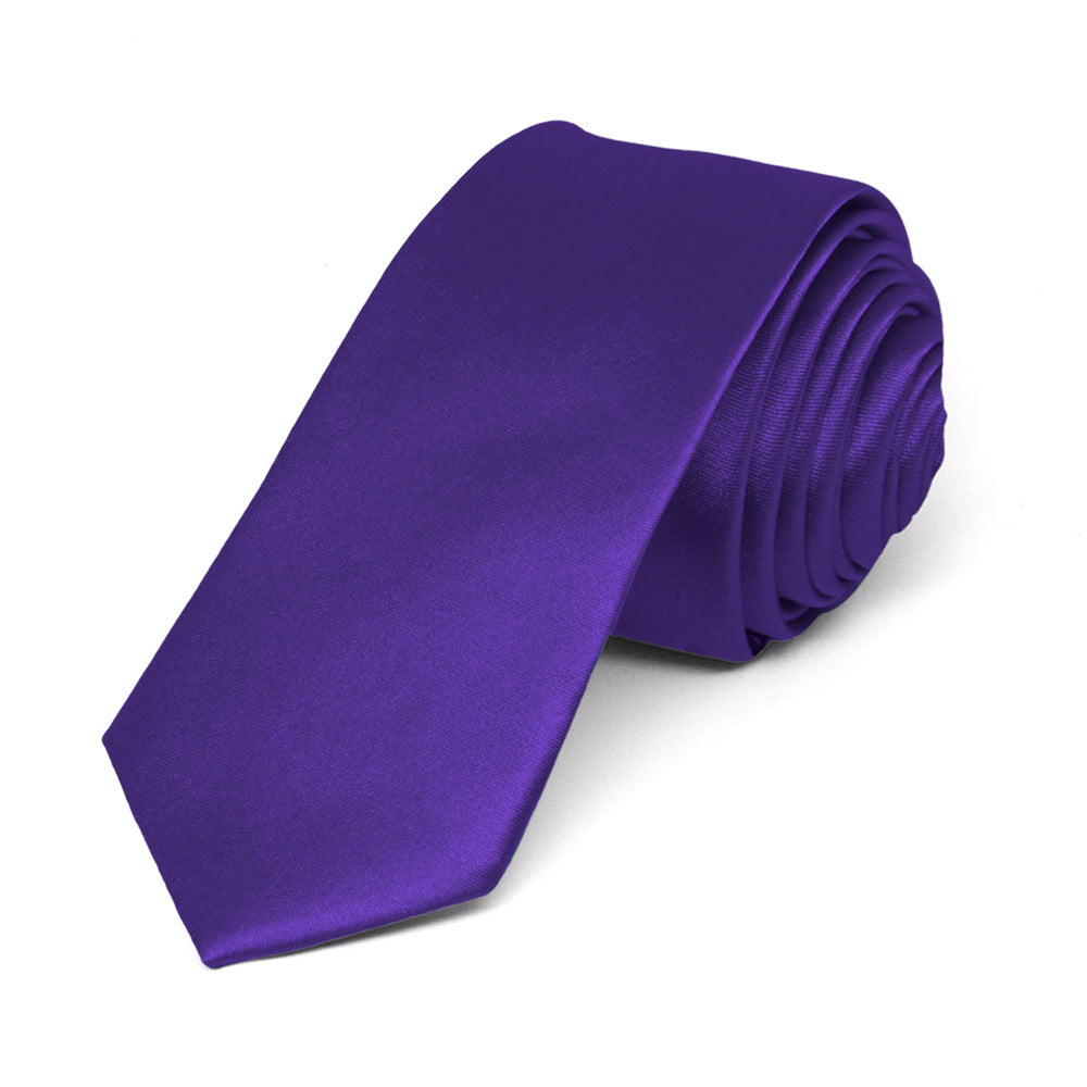 Amethyst Purple Skinny Solid Color Necktie, 2