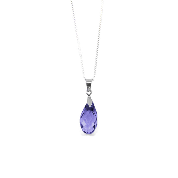 Amethyst Purple Briolette Crystal Necklace