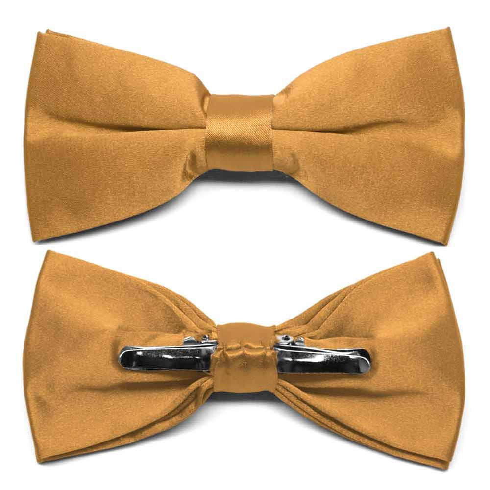 Antique Gold Clip-On Bow Tie