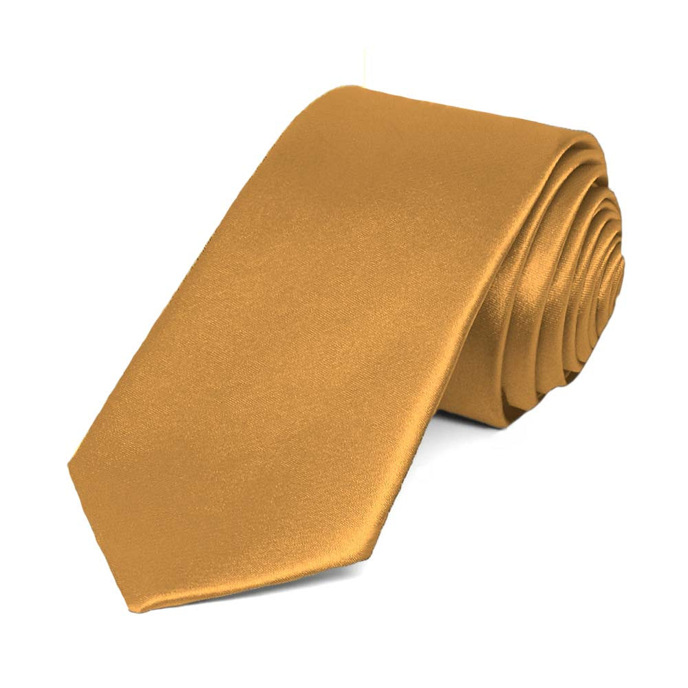 Antique Gold Slim Solid Color Necktie, 2.5