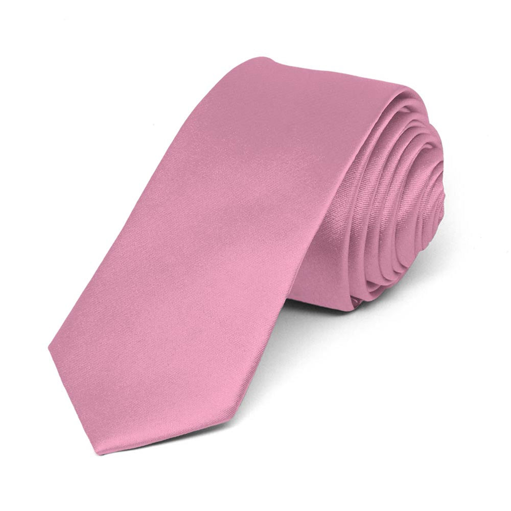 Antique Pink Skinny Solid Color Necktie, 2