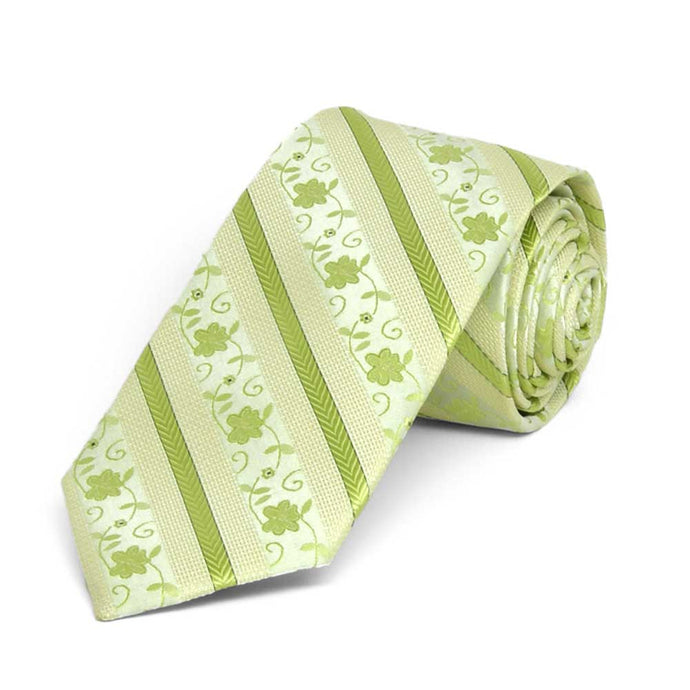 Apple Green Anna Floral Stripe Slim Necktie, 2.5