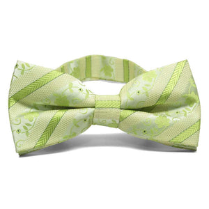 Apple Green Anna Floral Stripe Band Collar Bow Tie