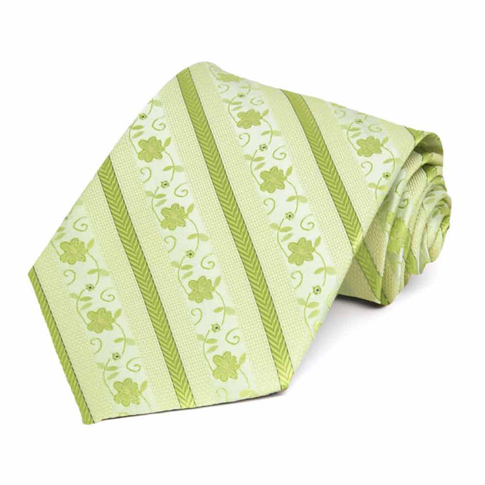 Apple Green Anna Floral Stripe Extra Long Necktie
