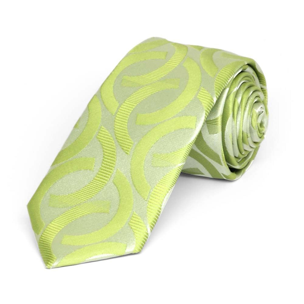 Apple Green Kay Link Pattern Slim Necktie, 2.5