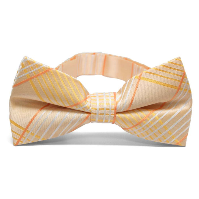 Apricot Jeffrey Plaid Band Collar Bow Tie