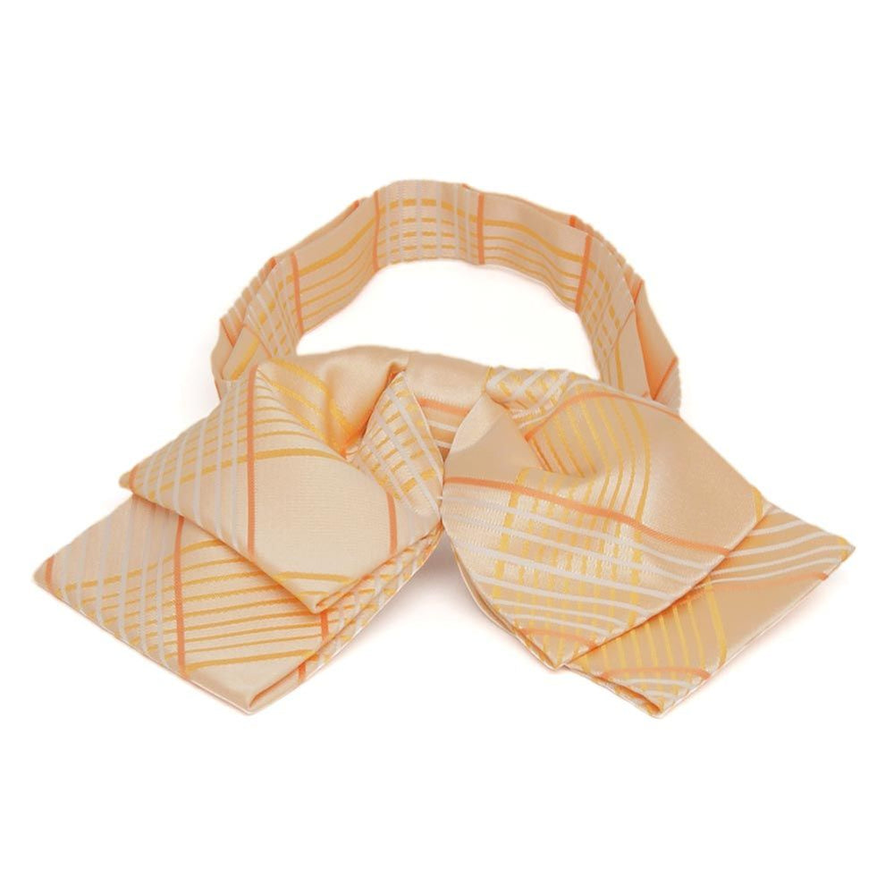Apricot Jeffrey Plaid Floppy Bow Tie