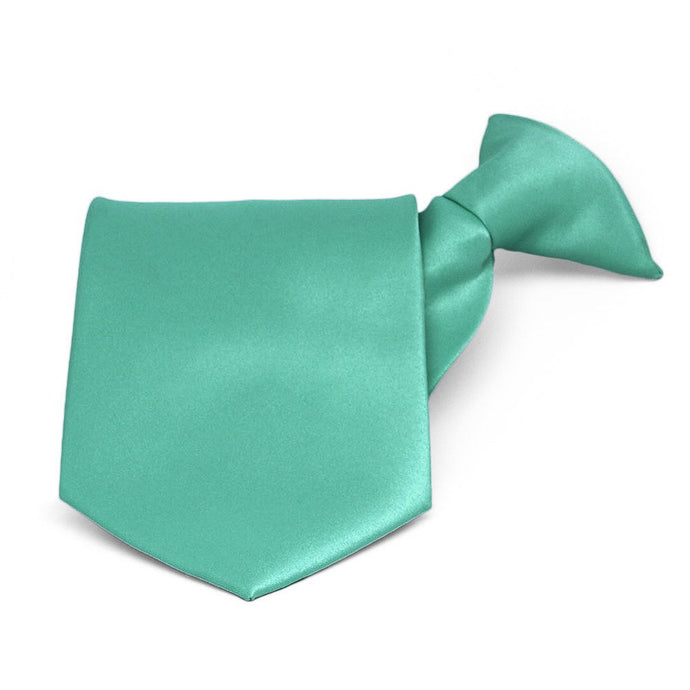 Aquamarine Solid Color Clip-On Tie