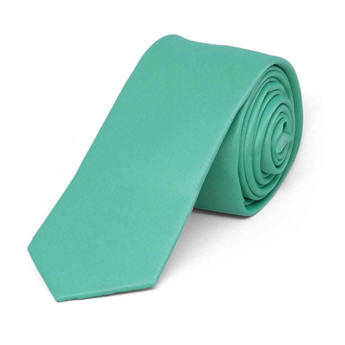 Aquamarine Skinny Solid Color Necktie, 2