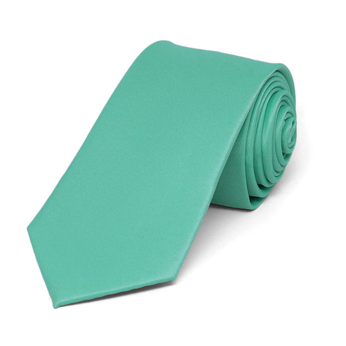 Aquamarine Slim Solid Color Necktie, 2.5