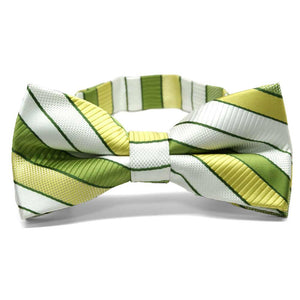Asparagus Green Douglas Stripe Band Collar Bow Tie
