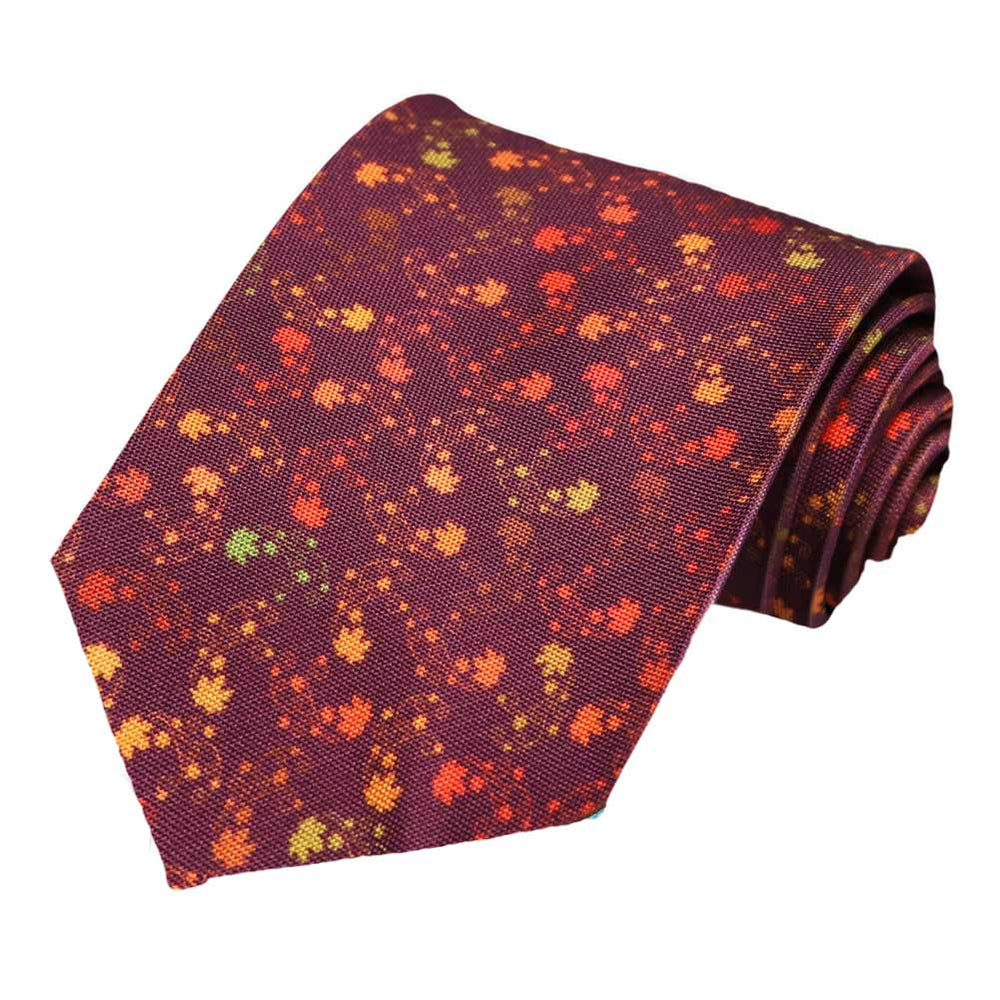 A array of winding leaves on a mulberry tie.
