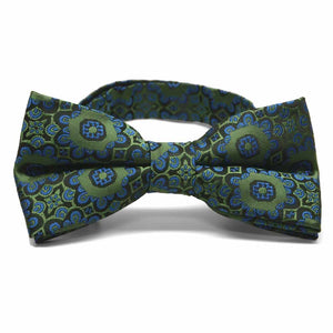 Avocado Green Emma Floral Pattern Band Collar Bow Tie