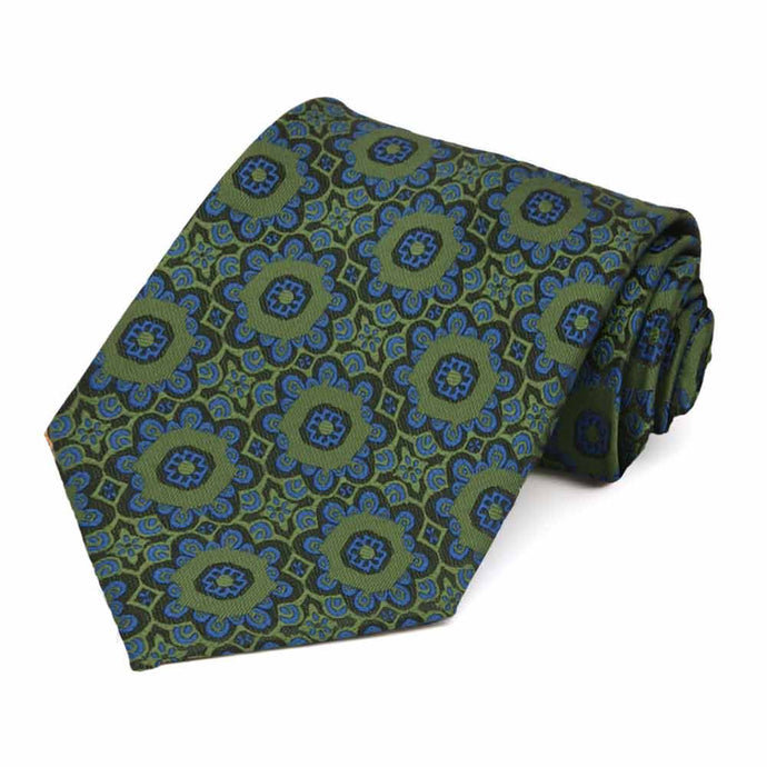 Avocado Green Emma Floral Pattern Extra Long Necktie