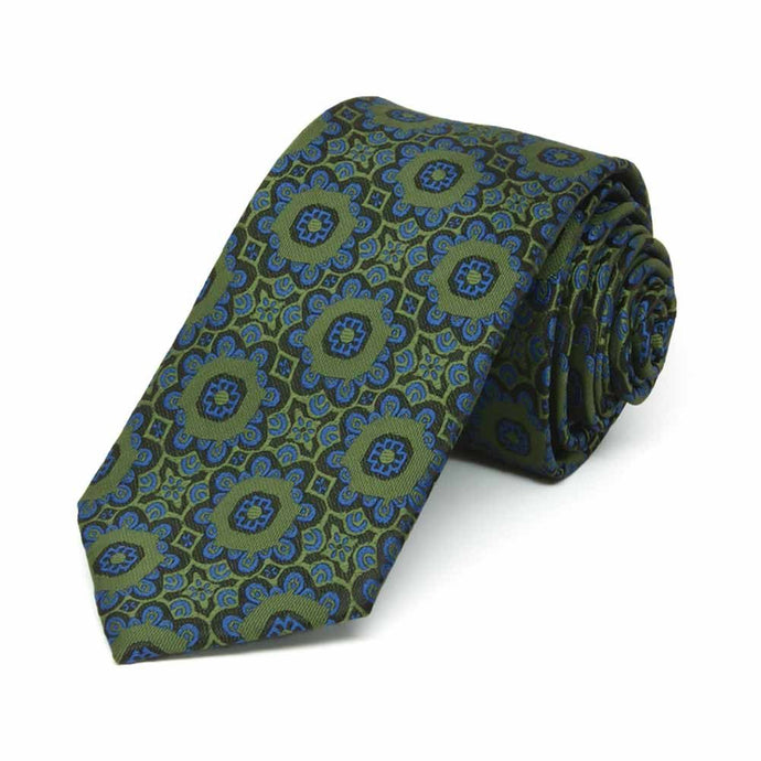 Avocado Green Emma Floral Pattern Slim Necktie, 2.5