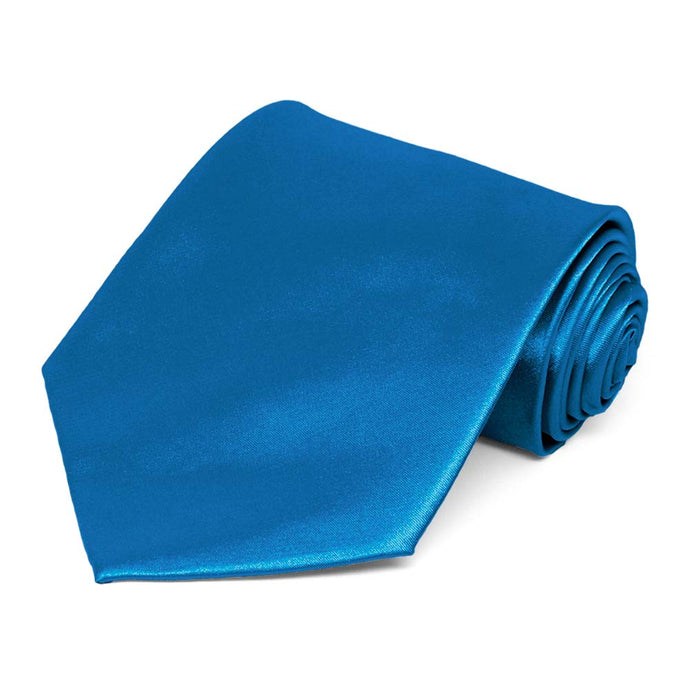 Azure Blue Extra Long Solid Color Necktie