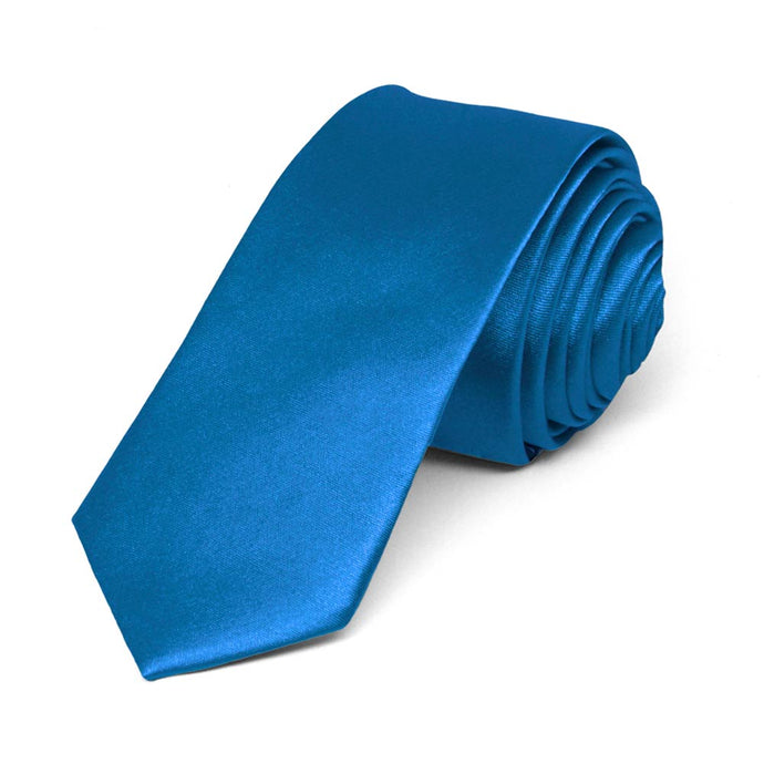 Azure Blue Skinny Solid Color Necktie, 2