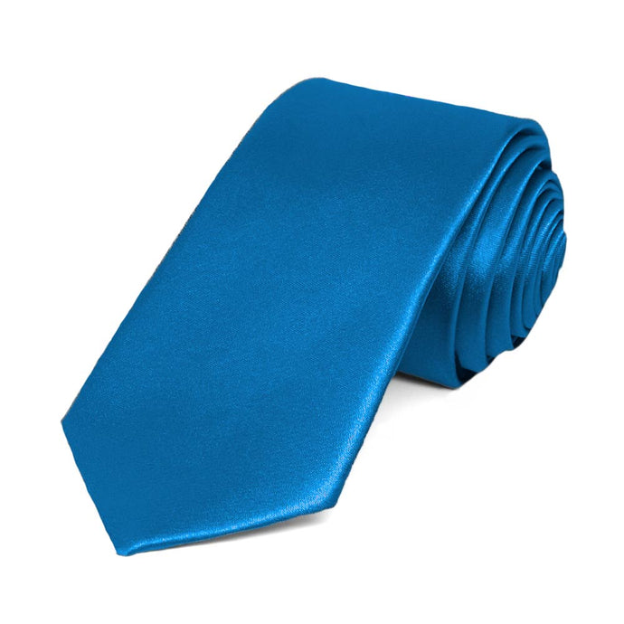 Azure Blue Slim Solid Color Necktie, 2.5