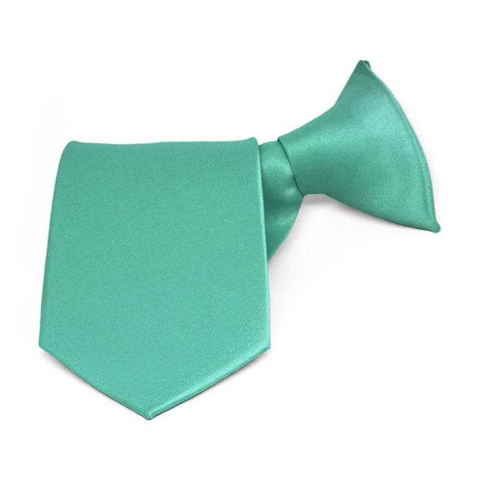 Boys' Aquamarine Solid Color Clip-On Tie, 8