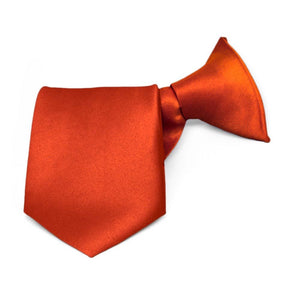 Boys' Coral Sunset (Red-Orange) Solid Color Clip-On Tie