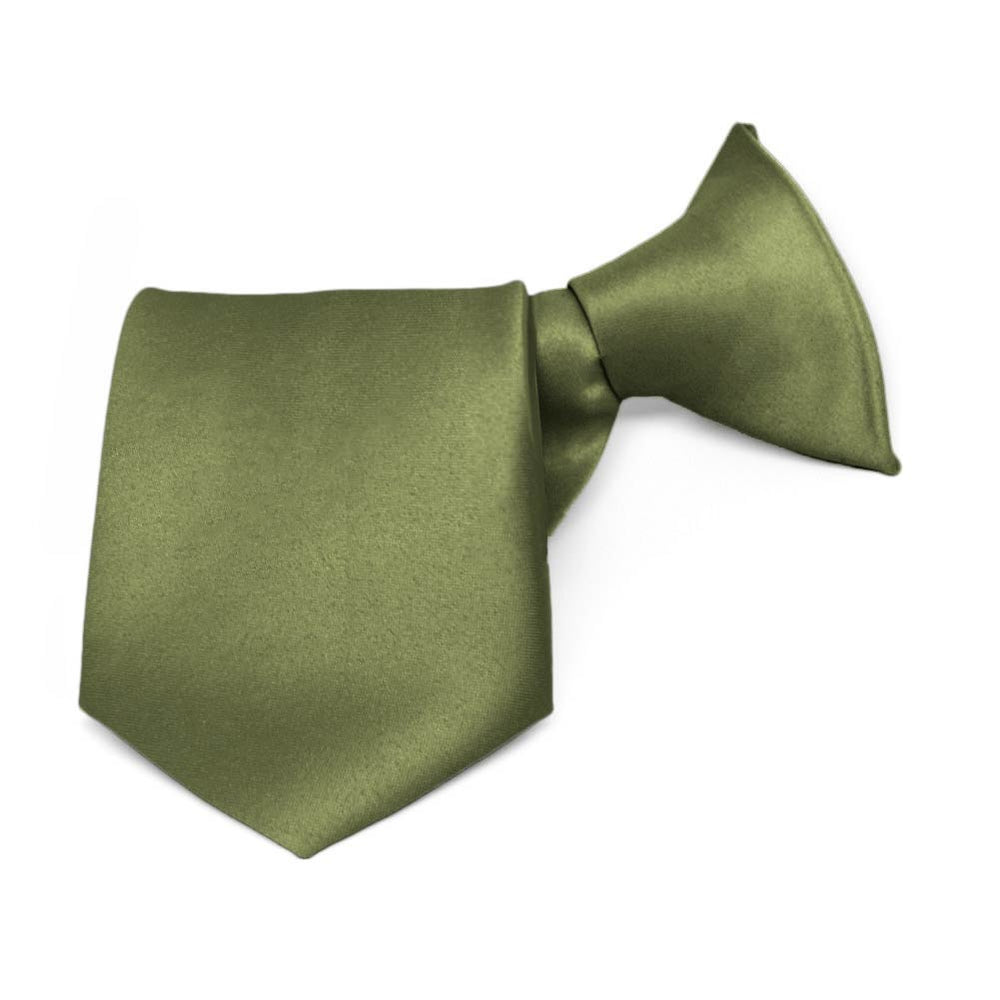 Boys' Moss Green Solid Color Clip-On Tie, 8