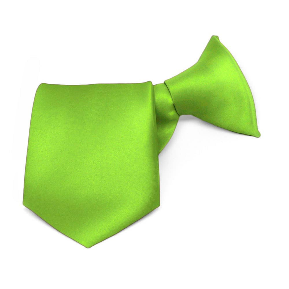 Boys' Hot Lime Green Solid Color Clip-On Tie, 8