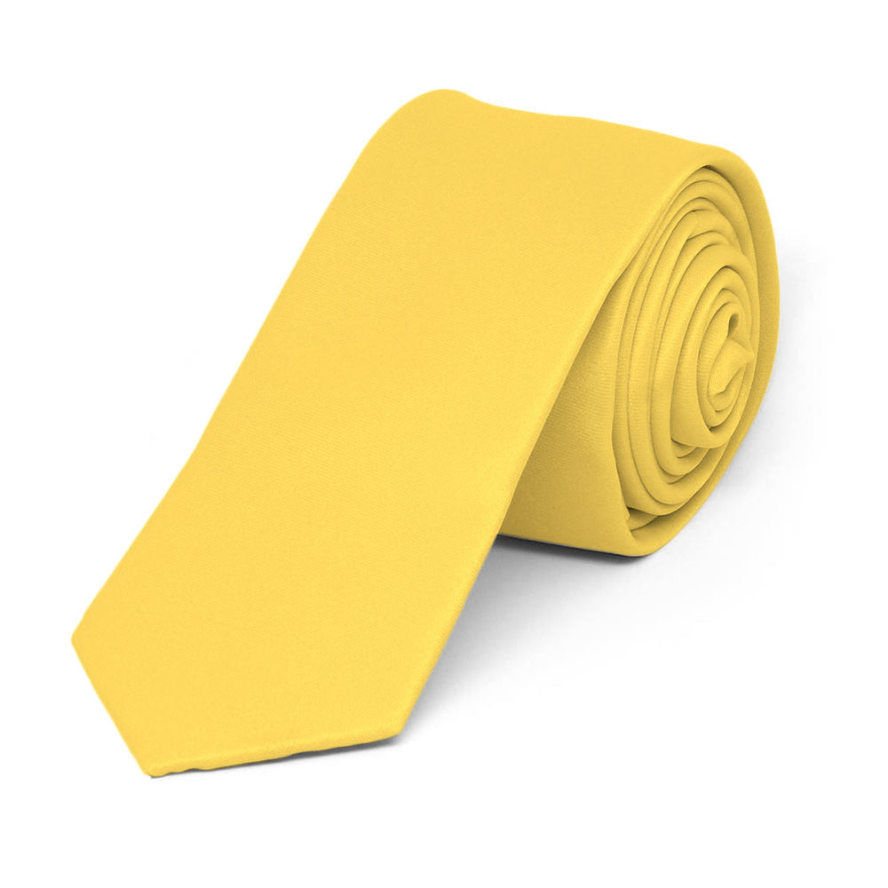 Banana Yellow Skinny Solid Color Necktie, 2