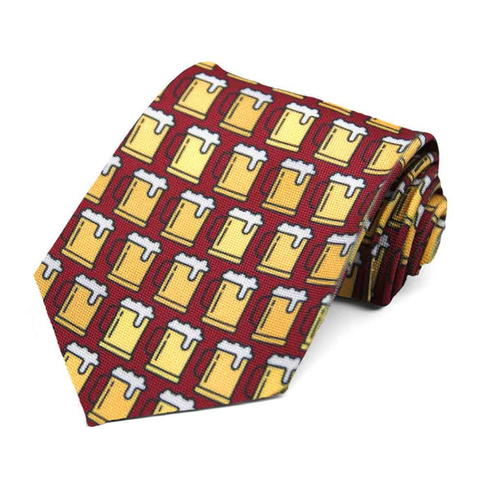 A tiled pattern beer stein tie on a maroon background.