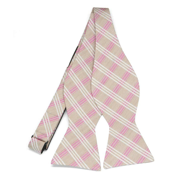 Beige and Pink Councillor Plaid Linen/Silk Self-Tie Bow Tie