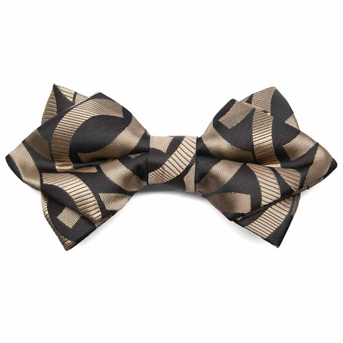 Black and Brown Kay Link Pattern Diamond Tip Bow Tie