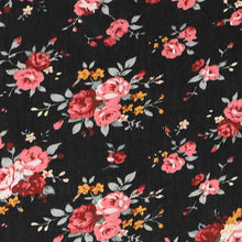 Load image into Gallery viewer, Coral and black floral fabric