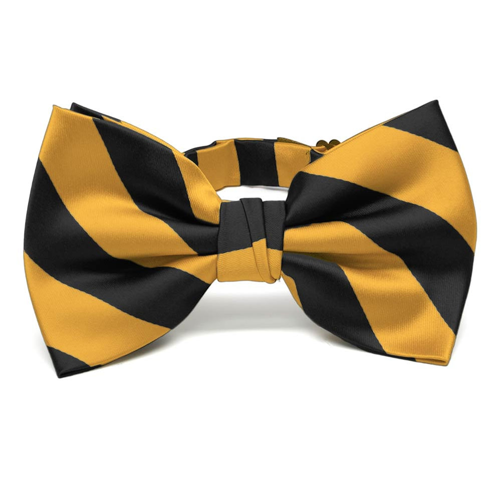 Black and Gold Bar Striped Bow Tie