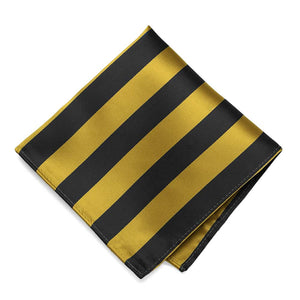 Black and Gold Striped Pocket Square
