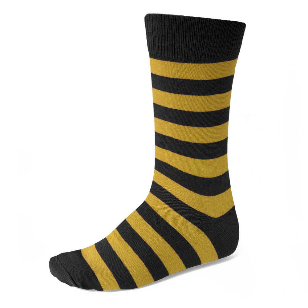 Men's Black and Gold Striped Socks