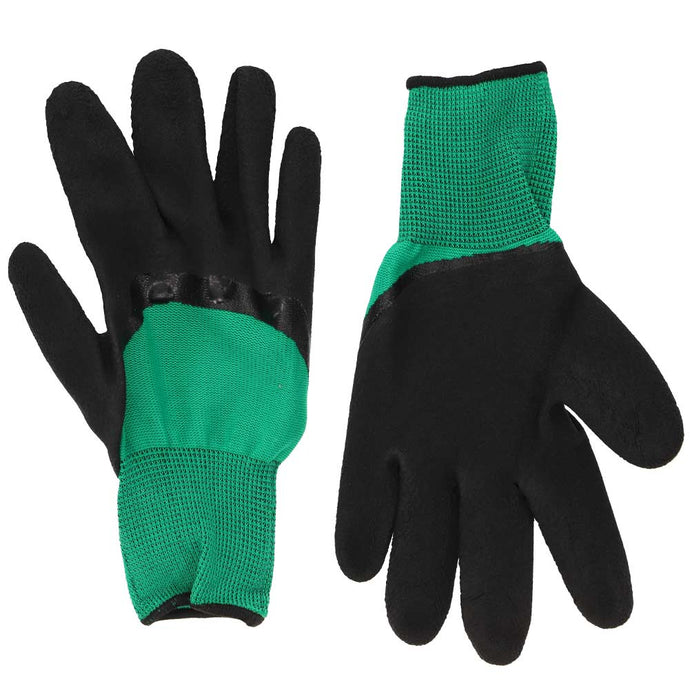 Black and green gardening gloves