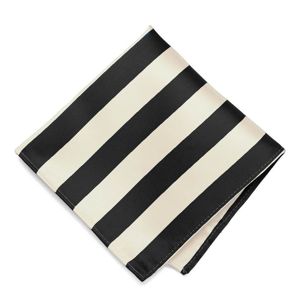 Black and Ivory Striped Pocket Square