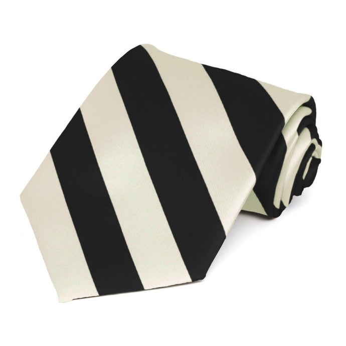 Black and Ivory Striped Tie