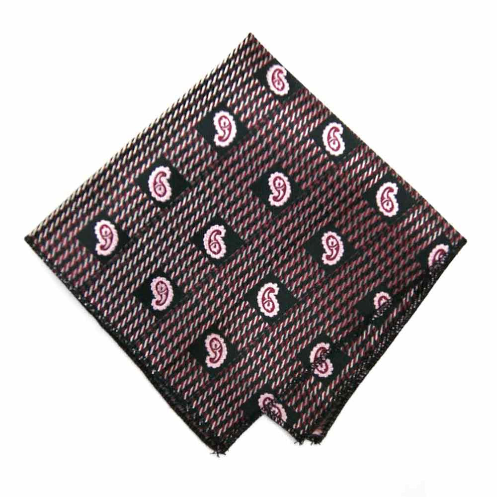 Black and Light Pink Churchill Paisley Pocket Square