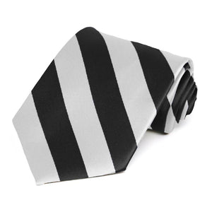 Black and Pale Silver Striped Tie