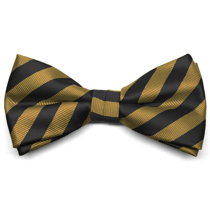 Black and Old Gold Formal Striped Bow Tie