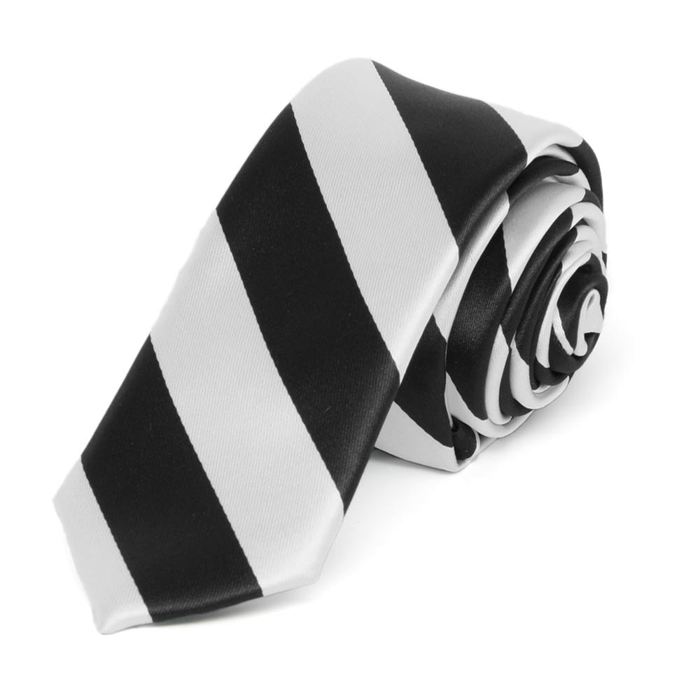 Black and Pale Silver Striped Skinny Tie, 2