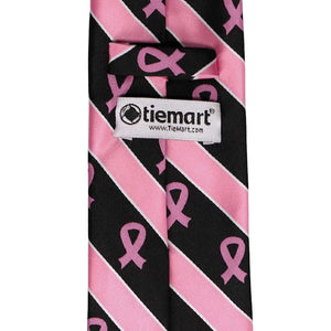 Back of a pink and black striped breast cancer tie