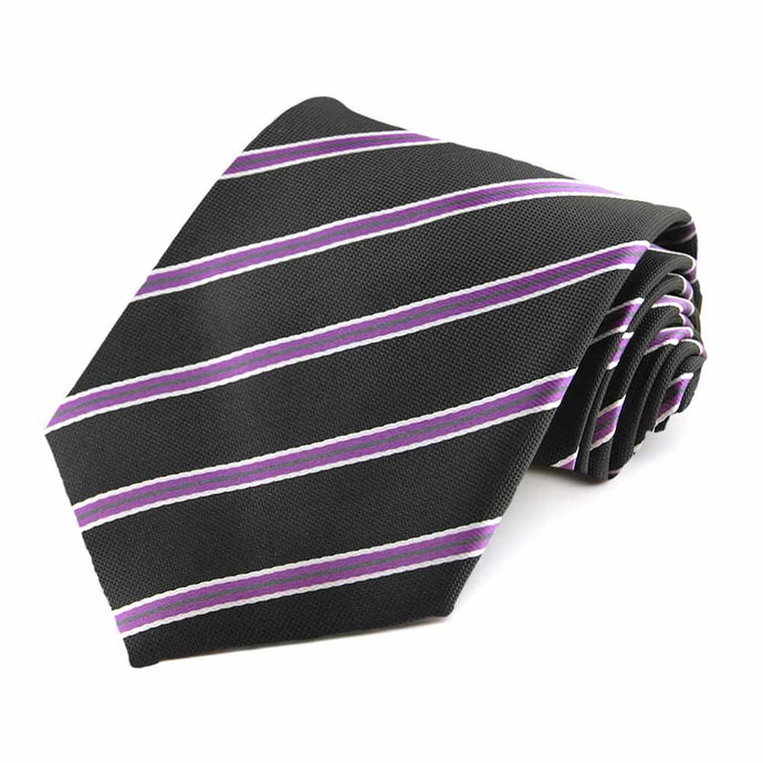 Black Melvin Stripe Extra Long Necktie